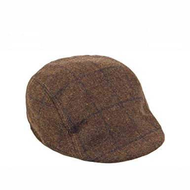 7ad24efa958 Mens Marc Darcy Brown Navy Check Print Tweed Flat Cap - L XL  Amazon ...