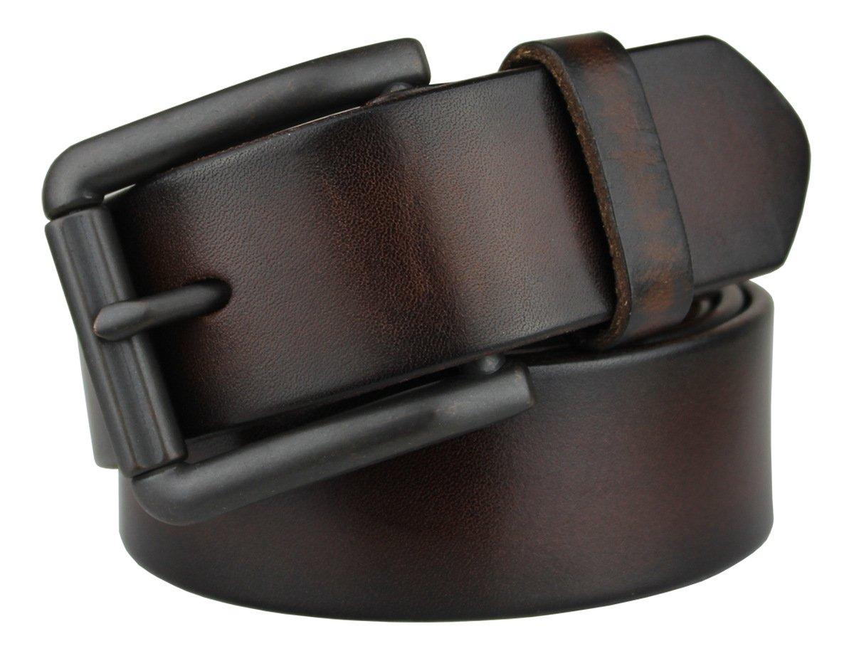 Bullko Men's Genuine Leather Belt Brown Casual Jean Belts for Men 34-36inch