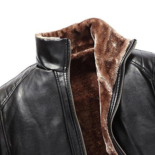 Cuello Soporte Abrigo Sintético Chaqueta Cuero Caliente Negro Forro Espesor Hombres Invierno wHq1EF1S