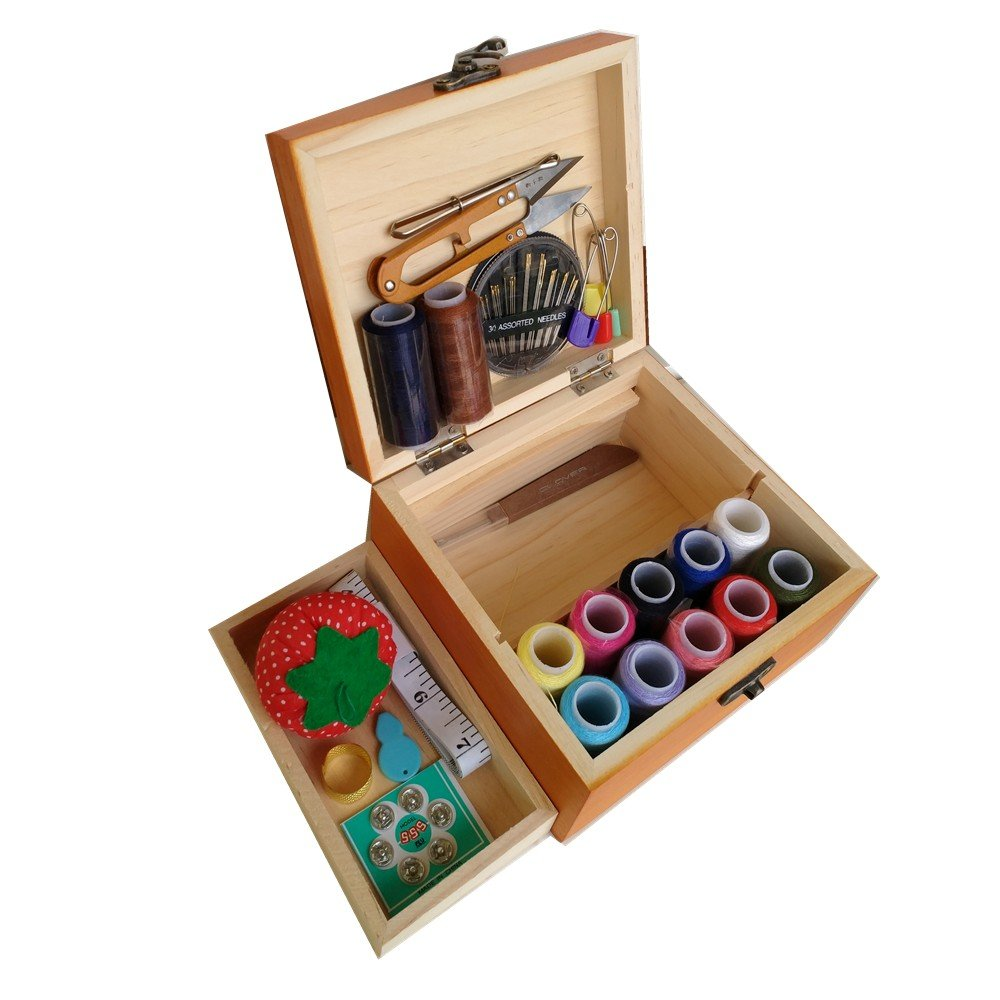 Wooden Sewing Basket/Sewing Box with Sewing Kit Accessories Summer_chuxia 4336938000