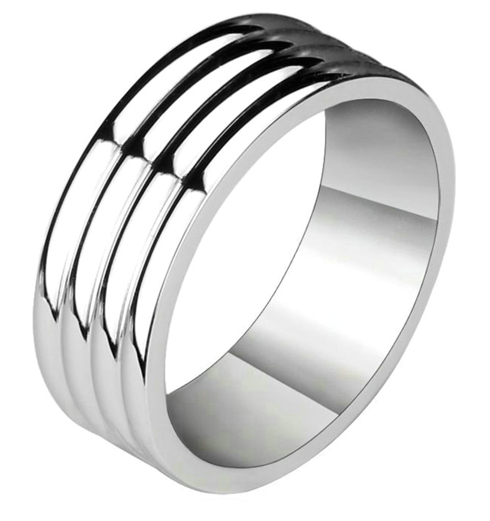 Bishilin 8mm Men's Tungsten Ring One Tone High Polished Wedding Band For His Size 13