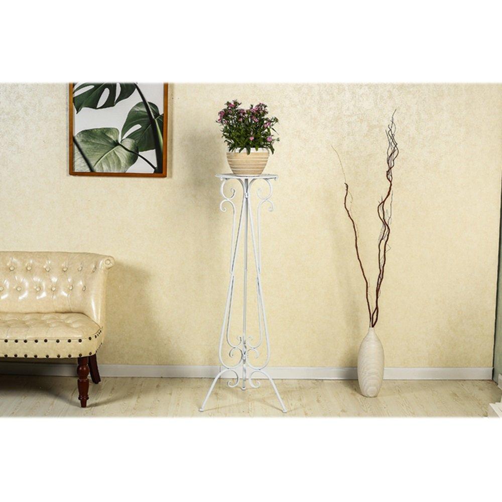 YQQ 厚い鉄の花のスタンド 植物棚 フロアスタンド 屋内 リビングルーム バルコニー 棚 フラワーポットシェルフ 多層 田舎 (色 : 白, サイズ さいず : 60 cm 60 cm) B07H8S327M 60 cm 60 cm|白 白 60 cm 60 cm