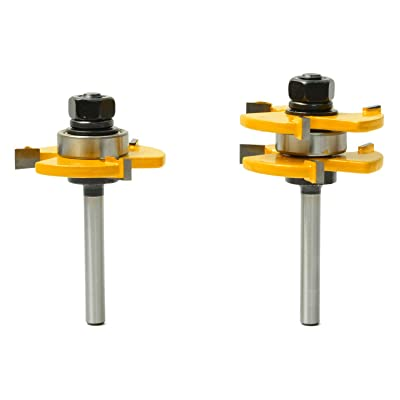 2pcs 1//2 Inch Shank Tongue /& Groove Router Bit Set 3 Teeth T-shape Wood Milling