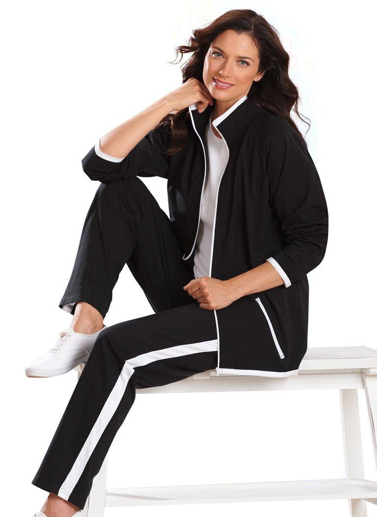 AmeriMark Contrast Stripe Pantset Black/White