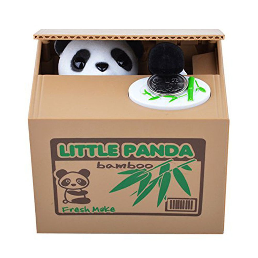USGreatgorgeous Cute Stealing Coin Cat Money Box Bank Piggy Bank White Panda for Child Panda retttttreewq