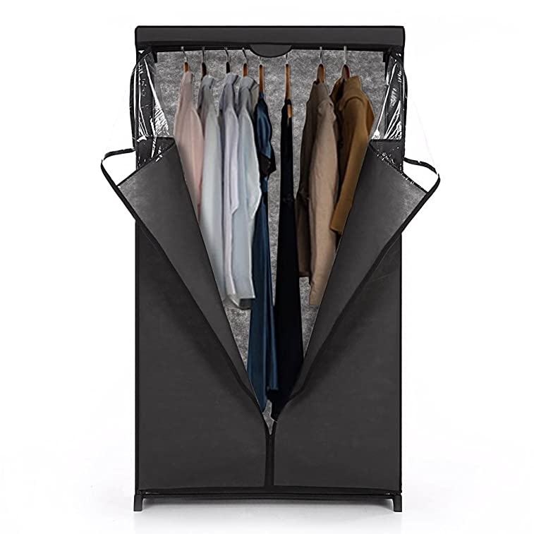 iKayaa Portable Clothes Closet Wardrobe Storage Organizer with Hanging Rack Non-woven with Cover