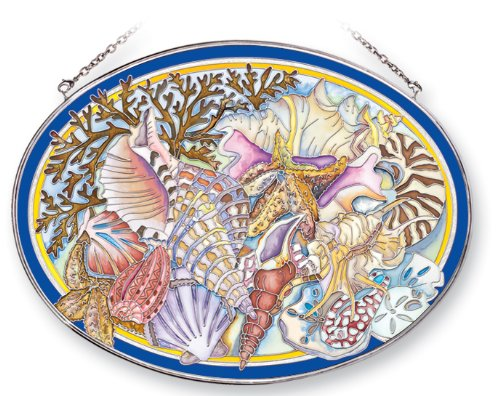Amia Suncatcher Featuring a Seashell Beach Design, Hand Painted Glass, 9-Inch by 6-1/2-Inch Oval