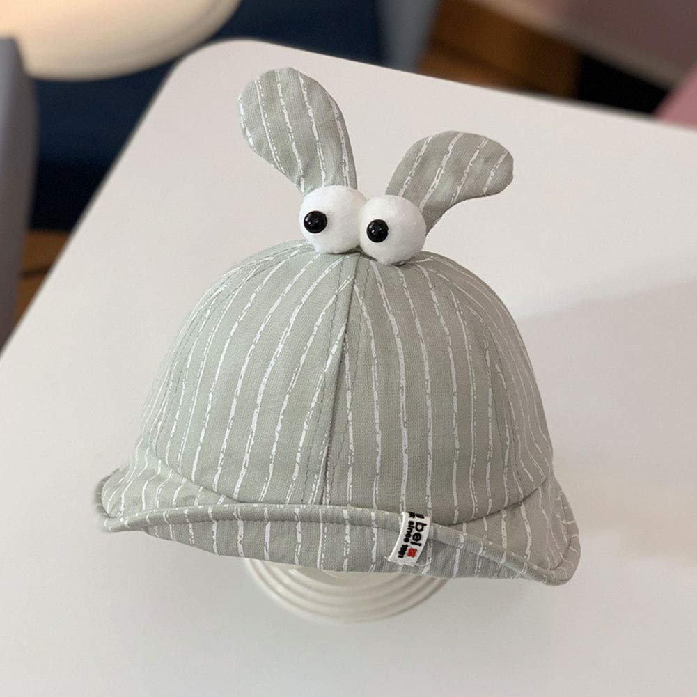 Unisex Children Cotton Basin Cap Stripe Pattern With Cute Eyes And Ears Sun Hat With Elastic Band For Boys Girls