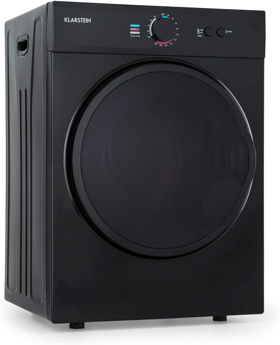 Klarstein Jet Set secadora de ropa - secadora por salida de aire, 1020 W, aislada, clase C, 3 kg, secado por extracción, selección del calor, programable, 49 x 69 x 47,5 cm, tambor de acero, negro