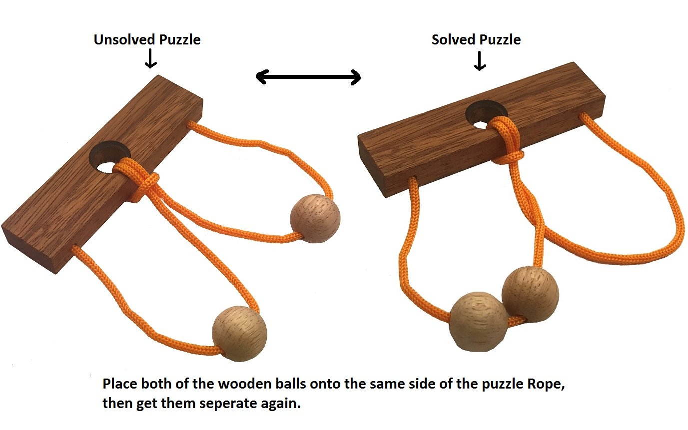 Two Lovers String Rope Ring Puzzle - Wood IQ Brain Teaser Mind Game by Winshare Puzzles and Games (Image #5)