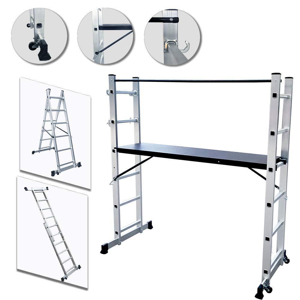 UISEBRT Andamio de Aluminio Multiprop/ósito 3 en 1 M/áx Carga de Capacidad de 150 kg Escalera Plegable Aluminio