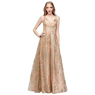 Davids Bridal Pleated Crossback Prom Dress With Glitter Style 264147 - Gold - 12