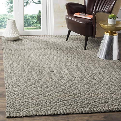 Safavieh Natural Fiber Collection NF473A Hand Woven Grey Wool & Jute Area Rug (9' x -