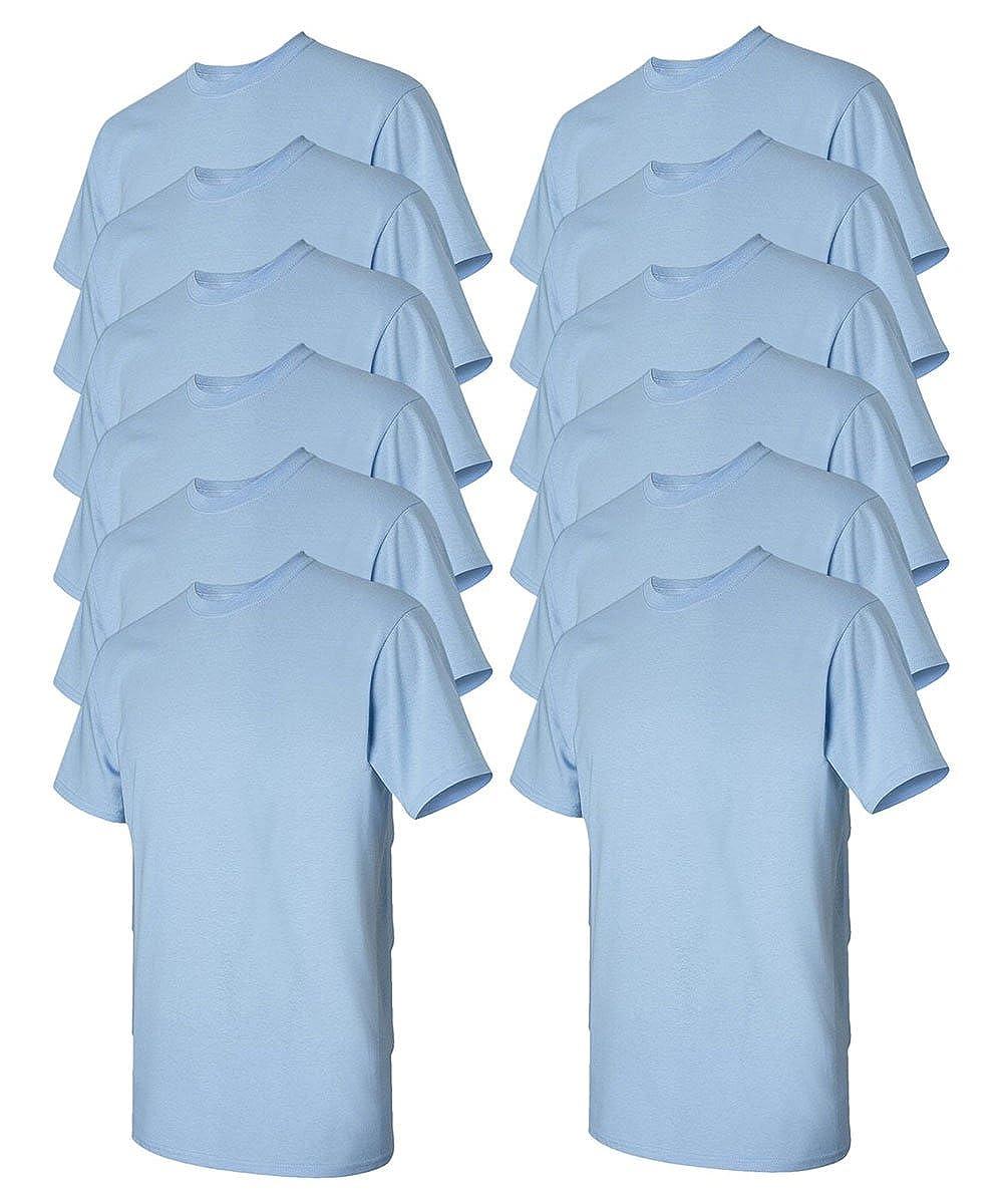 Light Blue 3X-Large Gildan Mens Heavy Cotton Tee Pack of 12