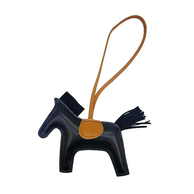 c21e318e998c Bag Charm for Women Purse Charm Horse Leather Keychain Handbag Accessories  (black)