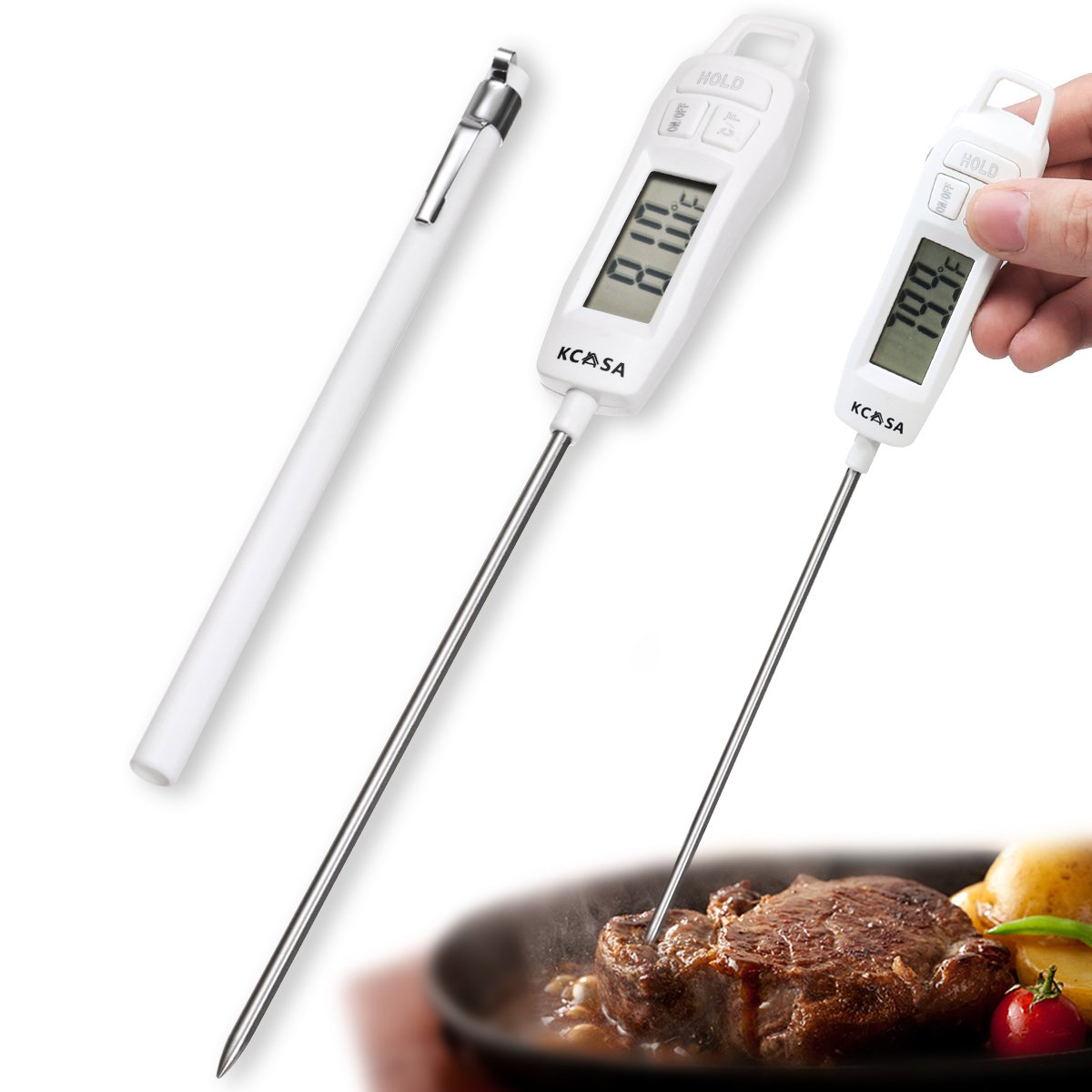 Janolia Pen Shape Meat Thermometer, High-performing Instant Read Cooking Thermometer, Long Probe and Cover for Kitchen Cooking, DIY Candy Making, BBQ Grill Meat, Fried Food, Milk, Honey