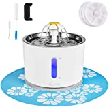 Cat Water Fountain Stainless Steel, 81oz/2.4L Cat Fountain with Smart Pump and LED Indicator for Water Shortage Alert, Cat an