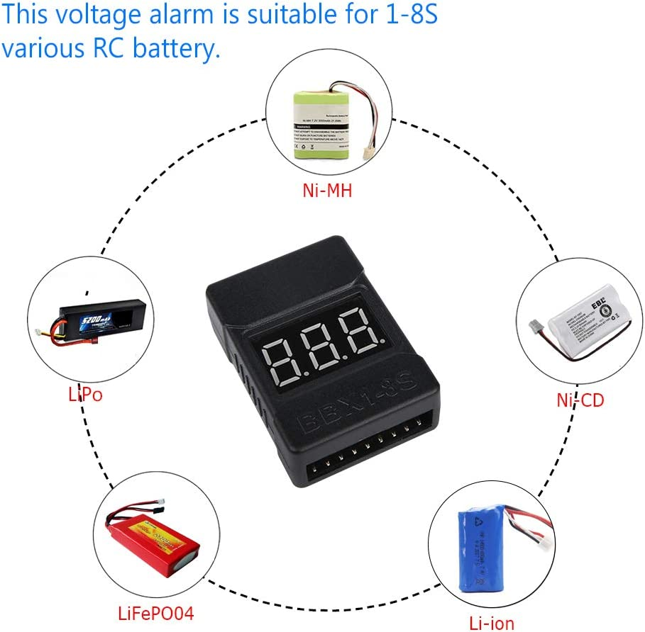 RC 1-8S Battery Tester Monitor Low Voltage Buzzer Alarm with LED Indicator for Lipo Life LiMn Li-ion Battery LiPo Battery Checker Voltage Alarm 2 Pack