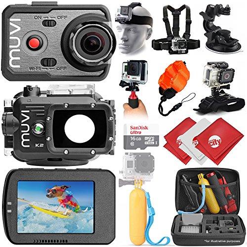 VEHO MUVI K-Series K-2 1080p 16MP Wi-Fi Sports Action Camera w/12PC Starter Kit (VCC-006-K2NPNG) Circuit City