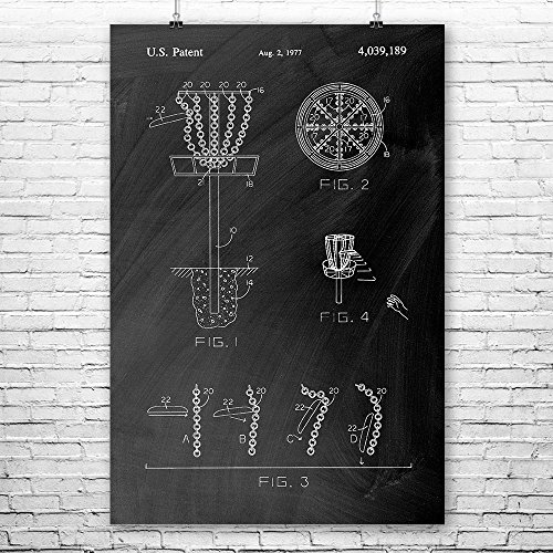 (Patent Earth Disc Golf Goal Poster Print, Frisbee Golf, Disc Golf Team, Ultimate Frisbee, Outdoor Games, Disc Golf Basket, Gameroom Chalkboard (Black) (11