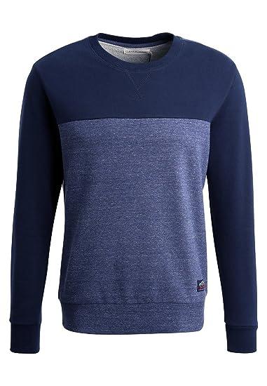 ddcfc6ebf8bb PIER ONE Pull Manches Longues Hommes Bicolore - Pullover décontracté Coton  en Bleu foncé