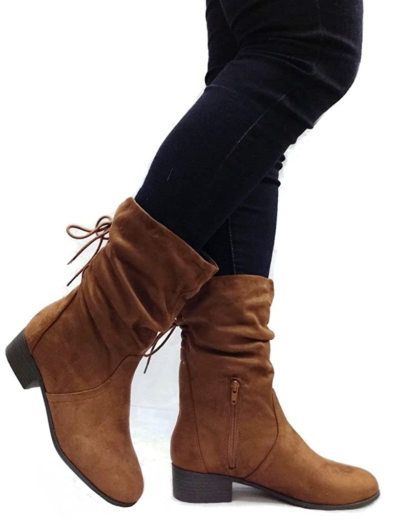 SODA Women's Slouchy Boot Round Toe Foldable Faux Suede