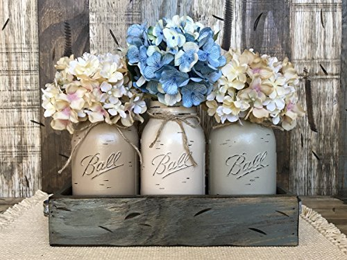 Mason Canning Jar Table Centerpiece with 3 Hand Painted Ball QUART Jars in Distressed Wood Tray rusty handles - COFFEE, SAND, THISTLE (pictured) -Hydrangea Flowers are optional *STUNNINGLY - Painted Hand Hutch