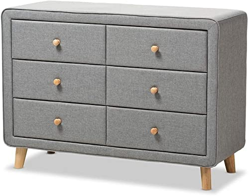 Baxton Studio 6-Drawer Mid-Century Dresser in Gray