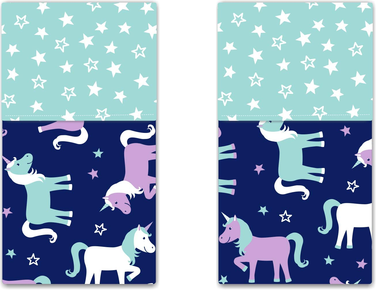 Funkins Cloth Placemats for Kids | School Lunches | Reusable, Eco-Friendly | 2-Ply, Durable | Set of 2, 15''x13'' Cotton Placemats | Magical Unicorns