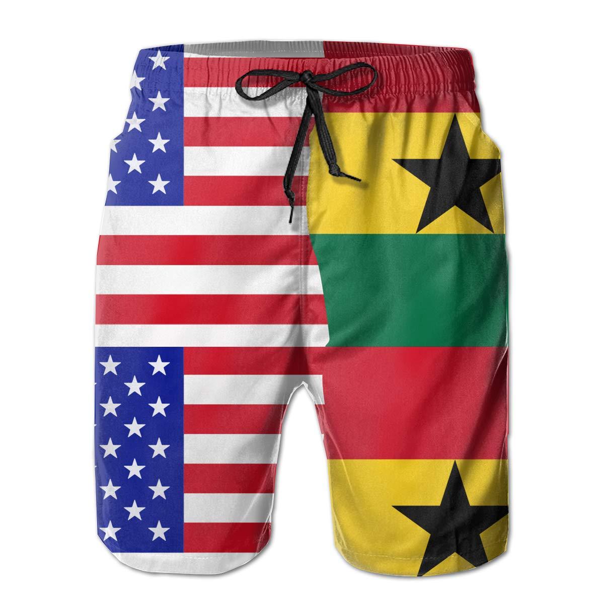 STDKNSK9 Mens Half USA Half Ghana Flag Board Shorts Swim Trunks