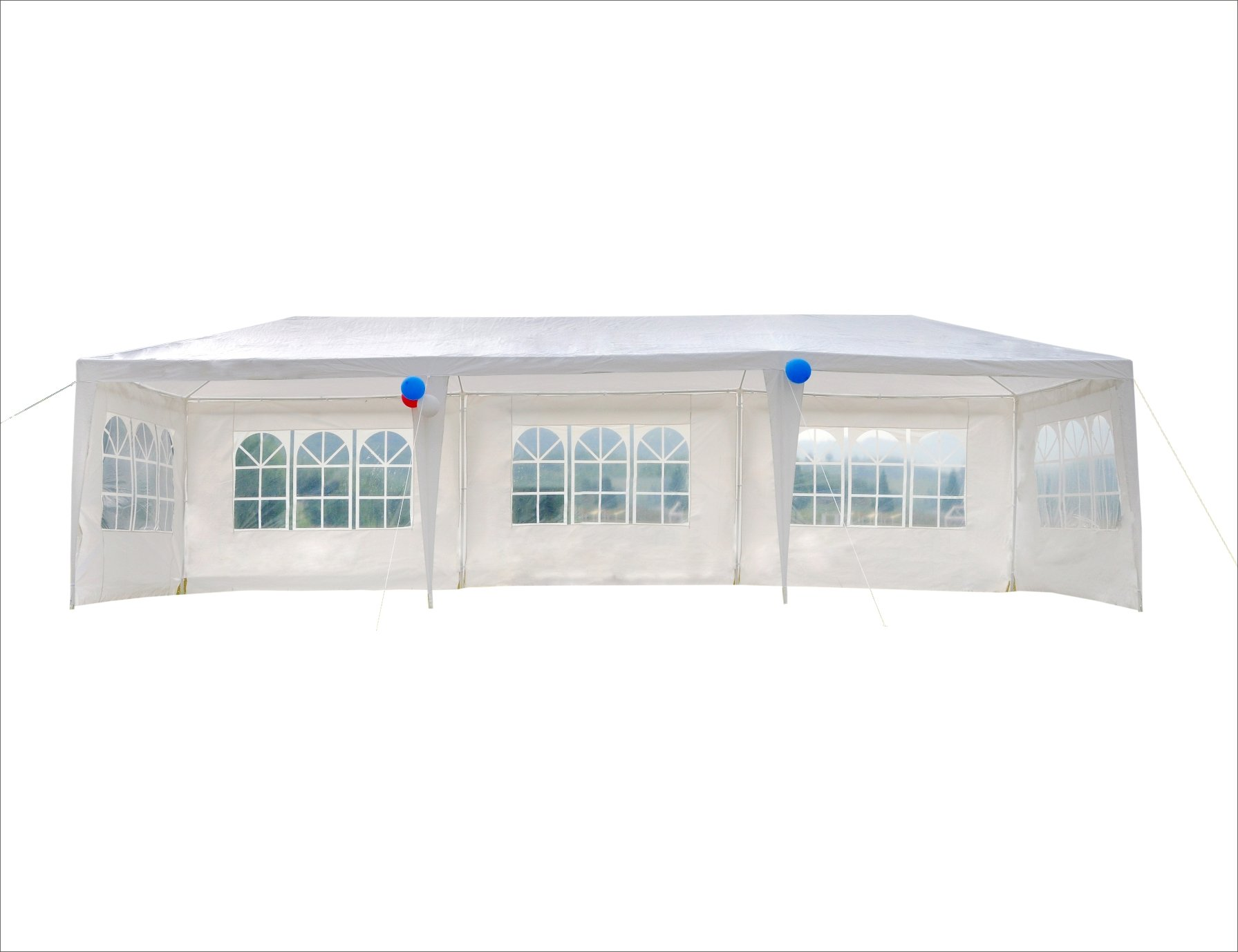 GOJOOASIS Wedding Party Tent 10x30 White Outdoor Canopy Tent Outdoor Gazebo (10' x 30' with 5 Walls) by GOJOOASIS