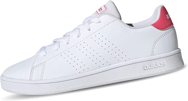 adidas Advantage K, Chaussures de Tennis Mixte Enfant blanc/rose intense/blanc