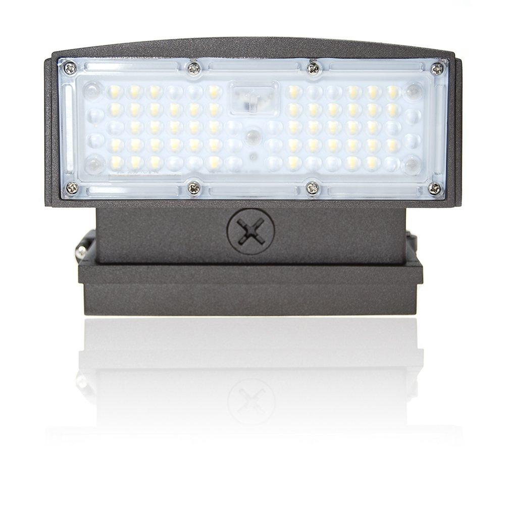 Bulb Daddy 55W LED Wall Pack, 0-45° Adjustable Head, Outdoor Dark Sky Compliant & Optically Enhanced Light Output Lighting Fixture, 5000K Daylight, IP65 Waterproof, 120-277V, UL & DLC Listed