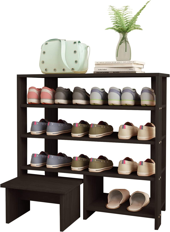 Jerry & Maggie - 4 Tier Wood MDF Shelf Shoe Rack with One Footstool/Shoe Storage Shelves Free Standing Flat Shoe Racks Classic Style -101% Multi Function Shelf Organizer - Black