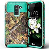 LG K7 Case, LG Tribute 5 Case,JDBRUIAN Forest Camouflage Pattern Design Premium Heavy Duty Defender Dual Layer Protector Hybrid Phone Cover Case for LG K7 & LG Tribute 5 (Teal)