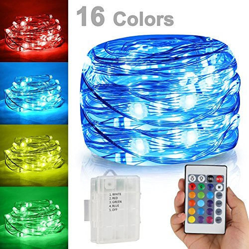 Yushi LED String Lights,Battery Powered Multi Color Changing String Lights With Remote,50leds Indoor Decorative Silver Wire Lights for Outdoor Garden,Stroller,Christmas Tree (16 Ft / 50 Leds) by Yushi