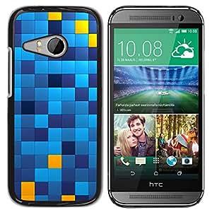 Qstar Arte & diseño plástico duro Fundas Cover Cubre Hard Case Cover para HTC ONE MINI 2 / M8 MINI ( Pattern Chechkered Yellow Blue Squares)