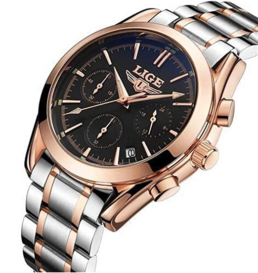 HWCOO LIGE Relojes mecánicos Reloj de Cuarzo de los Deportes de los Hombres de LIGE Reloj de Acero Impermeable Reloj de los Hombres Reloj Multifuncional ...