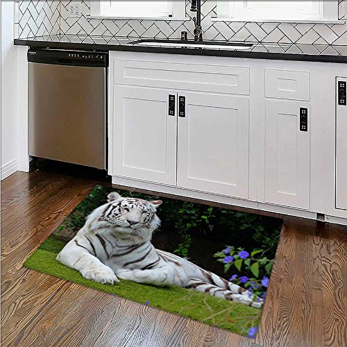 - Bengal White Tiger Close up Soft, Non-Slip W39 x H20