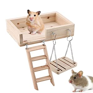 Wooden Platform,Swing and Ladder Set for Mouse, Chinchilla, Rat, Gerbil and Dwarf Hamster,Climbing Kits for Small Animals (Burlywood)