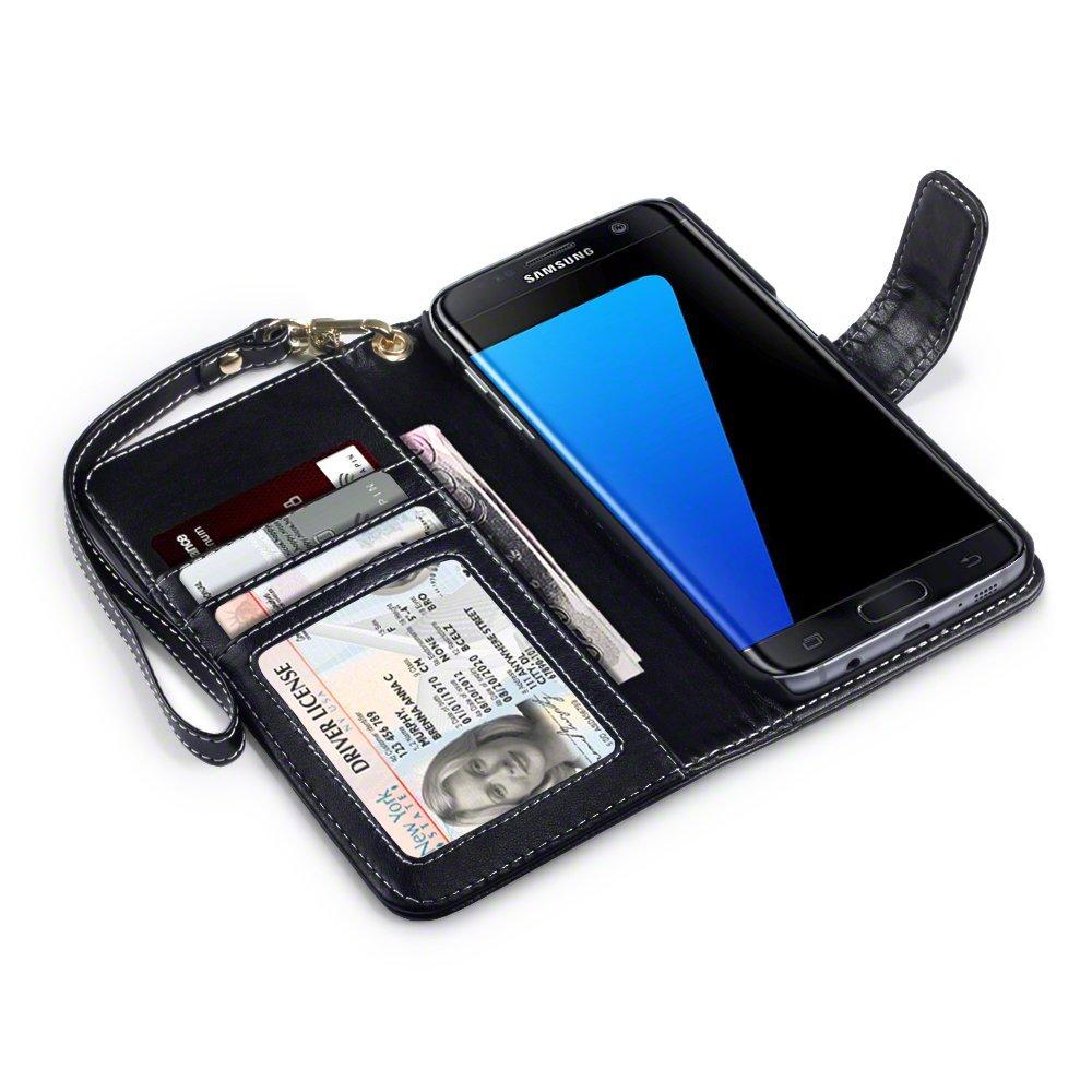 Samsung Galaxy S7 Edge Funda Cartera de Grabado Diseño floral PU Tapa delantera con billetera para tarjetas y Correa Extraible: Amazon.es: Electrónica