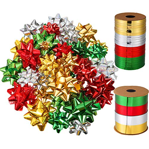 TecUnite 52 Pieces Self Adhesive Christmas Wrap Bows Metallic Gift Bows and 131 Feet Christmas Curling Ribbons for Party Favor Gift Balloon Wrapping