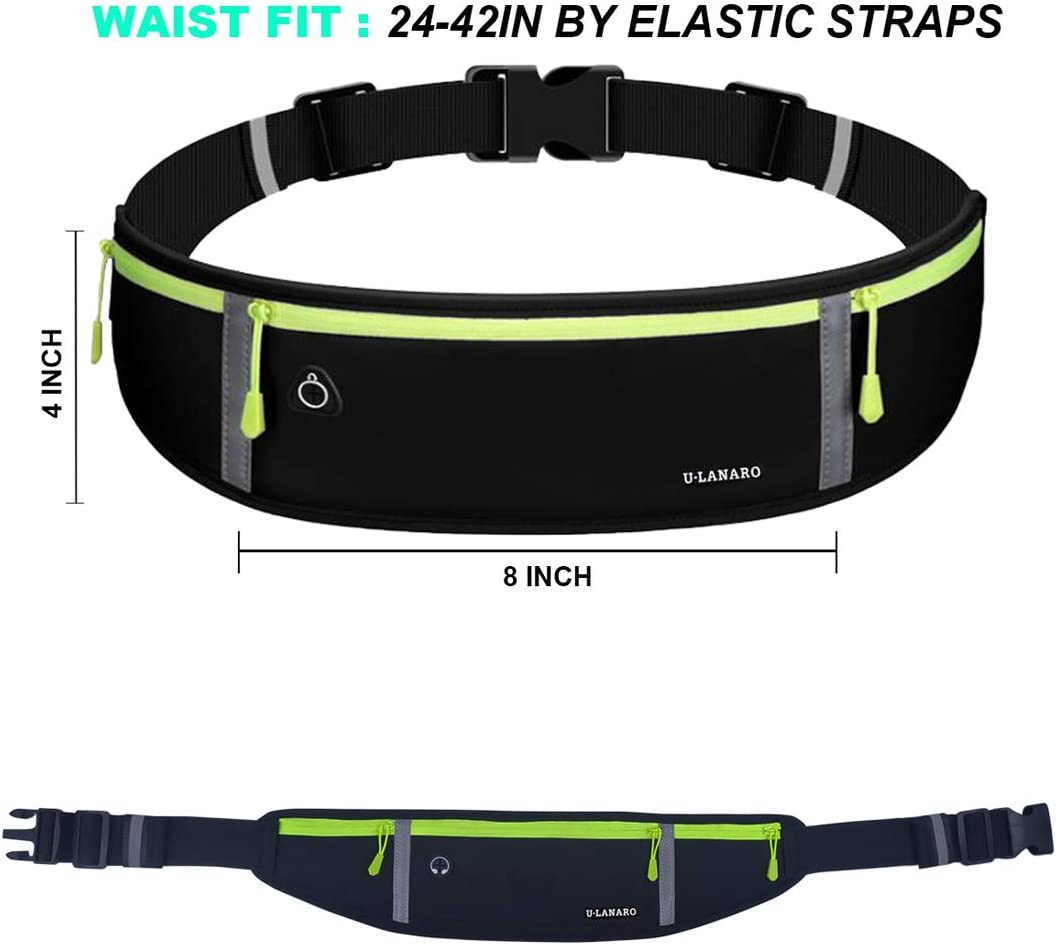 Running Belt Fanny Pack,Workout Gym Waist Pouch Bag,Bounce Free Runners Jogging Pocket Belt for iPhoneXS Max,XR,iPhone 11 8 7 Plus,Cycling,Exercise,Hiking,Sports
