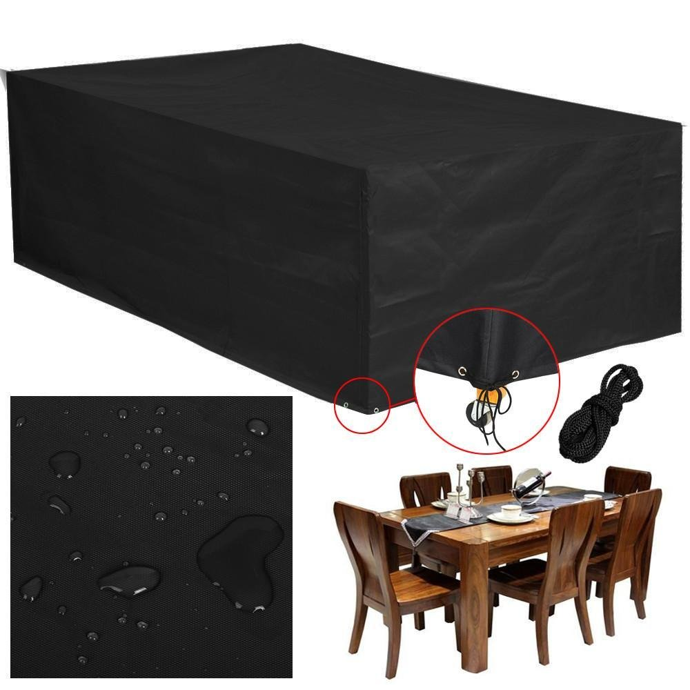 Popamazing Waterproof Outdoor Garden Furniture Table and Chair Cover 210x140x80cm (Black)