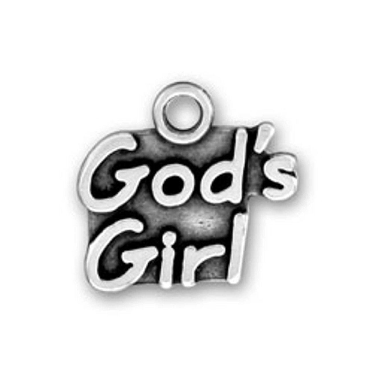 Sterling Silver Womens 1mm Box Chain GODS GIRL Word Pendant Necklace