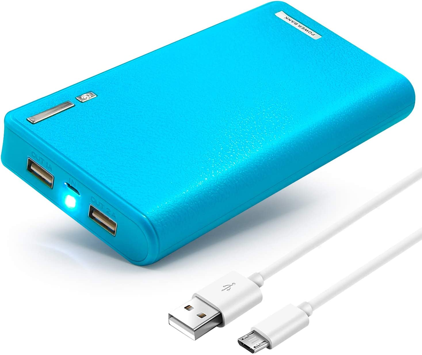 20000mAh Dual USB Output Power Bank Portable Quick High Capacity Battery Backup Charger with LED Light for iPhone iPad Samsung Galaxy More (Blue)