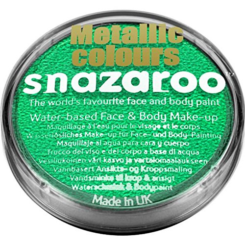 Boys Girls Ladies Mens Snazaroo Metallic Green Face & Body Paint Make Up Carnival Festival Halloween Fancy Dress Costume Accessory 5 Colours Available (Green)]()