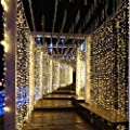 LIIDA Curtain Lights, LED Twinkle Lights 9.8 x 9.8ft Curtain Icicle Lights with 8 Modes Controller for Holiday, Party, Outdoor Wall, Wedding Decorations