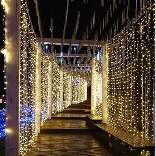 LIIDA Curtain Lights, LED Twinkle Lights 9.8 x 9.8ft Warm White Curtain Icicle Lights With 8 Modes Controller for Holiday, Party, Outdoor Wall, Wedding Decorations by LIIDA (Image #1)