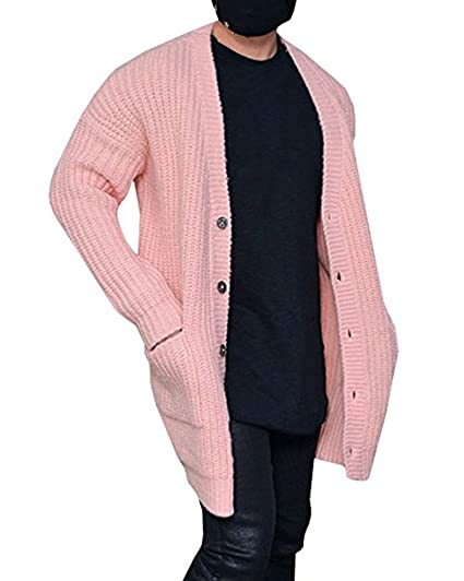 Kathemoi Mens Cardigan Sweater Knit Cable Button Winter Thick